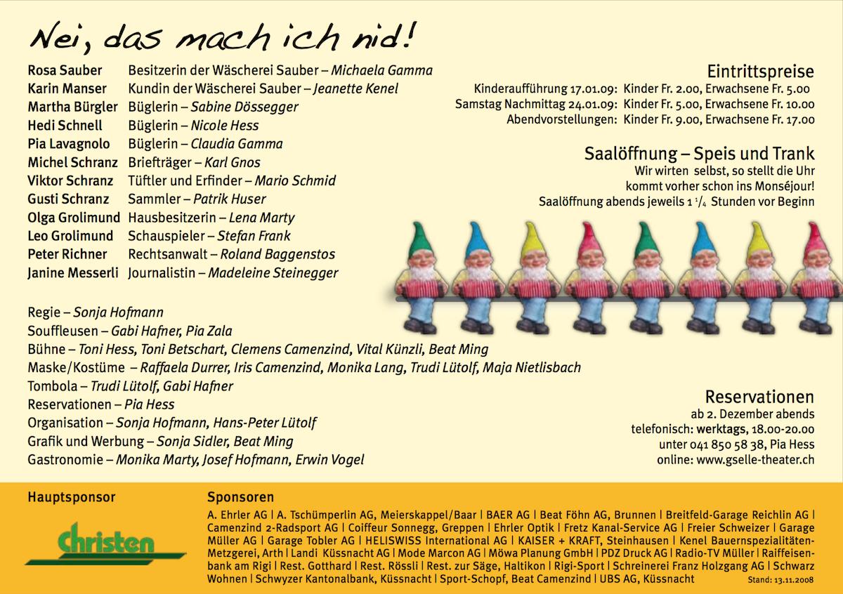 De Fräch Willi 2009 - Programm
